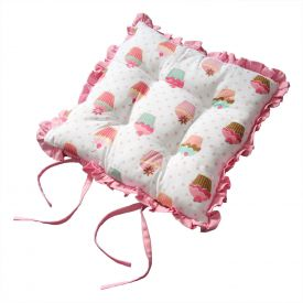 Reversible Pink Frilled Cushion Seat Pad with Ties Cup Cakes