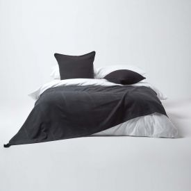 Cotton Rajput Ribbed Black Throw, 255 x 360 cm