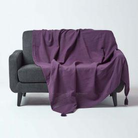 Cotton Rajput Ribbed Purple Throw