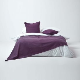 Cotton Rajput Ribbed Purple Throw, 255 x 360 cm