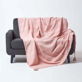 Cotton Rajput Ribbed Pink Throw