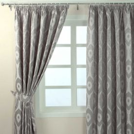 """Grey Jacquard Curtain Abstract Ikat Design Fully Lined - 46"""" X 90"""" Drop"""