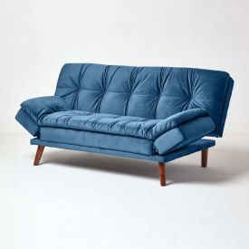 Bailey Velvet Sofa Bed with Armrests, Navy