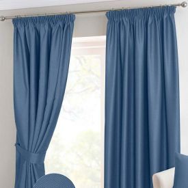 Navy Blue Herringbone Chevron Thermal Blackout Curtains Pencil Pleat