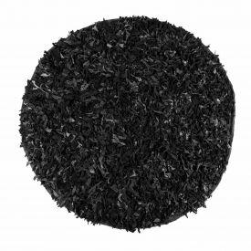 Dallas Leather Shaggy Rug Black, 150 cm Round