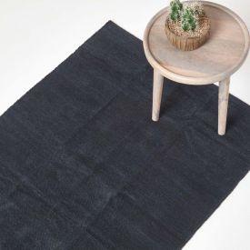 Chenille Plain Cotton Extra Large Rug Black, 110 x 170 cm
