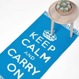 Keep Calm And Carry On Blue White Rug Hand Woven Base, 60 x 100 cm