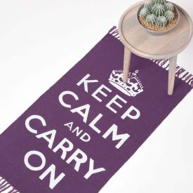 Keep Calm And Carry On Purple White Rug Hand Woven Base, 60 x 100 cm