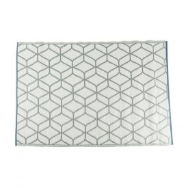 Grey and White Geometric Pattern Reversible Outdoor Rug