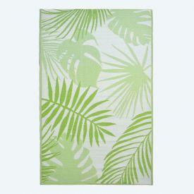 Green Tropical Leaf Pattern Reversible Outdoor Rug