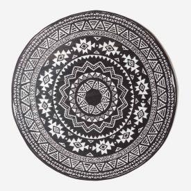 Black and White Motif Design Circular Reversible Outdoor Rug