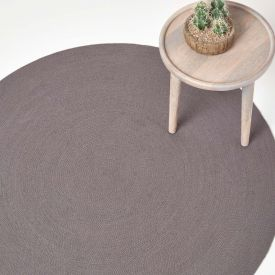 Grey Handmade Woven Braided Oval Rug, 120 cm Round