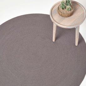 Grey Handmade Woven Braided Oval Rug, 150 cm Round