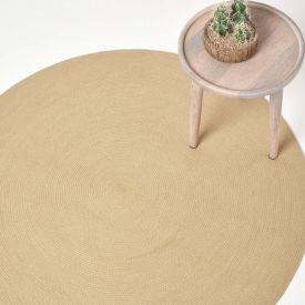 Linen Handmade Woven Braided Oval Rug, 120 cm Round
