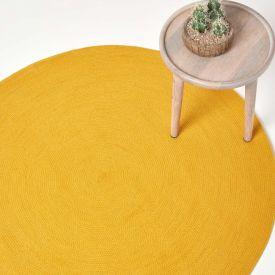 Mustard Yellow Handmade Woven Braided Oval Rug, 120 cm Round