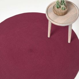 Plum Handmade Woven Braided Oval Rug, 150 cm Round