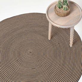 Linen and Black Handmade Woven Spiral Braided Rug, 120 cm Round