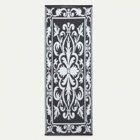 Large Black & White Outdoor Rug with Damask Design, 198 x 73 cm