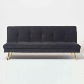 Laurie Velvet Click Clack Sofa Bed, Black
