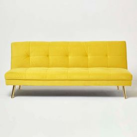 Laurie Velvet Click Clack Sofa Bed, Yellow