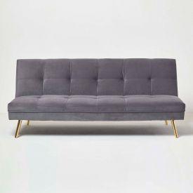 Laurie Velvet Click Clack Sofa Bed, Dark Grey