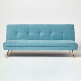 Laurie Velvet Click Clack Sofa Bed, Blue