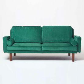 Stanley Velvet Click Clack Sofa Bed with Armrests, Dark Green