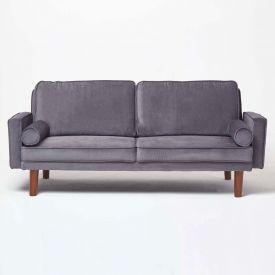 Stanley Velvet Click Clack Sofa Bed with Armrests, Dark Grey