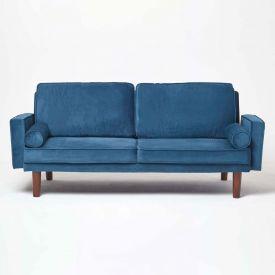 Stanley Velvet Click Clack Sofa Bed with Armrests, Navy