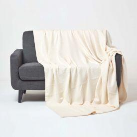 Organic Cotton Waffle Blanket/ Throw Natural
