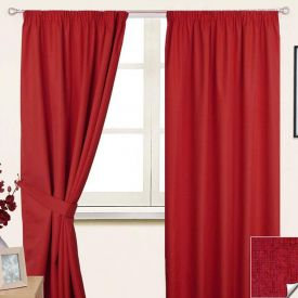 "Wine Pencil Pleat Blackout Curtain Pair, 90 x 90"""
