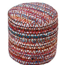 Red and Multi-Colour Chindi Design Circular Bean Filled Pouffe
