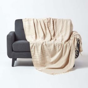 Bed Sofa Throw Cotton Chenille Tie Dye Beige