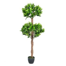 Two Ball Bay Topiary Tree 4 Feet Tall Artificial Plant or Tree