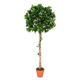 Green 4ft Ficus Topiary Artificial Tree with Pot, 125 cm