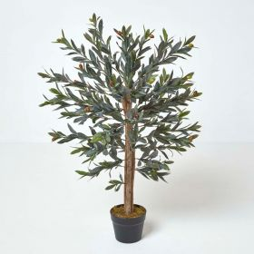Green Olive Tree Artificial Plant with Pot, 90 cm