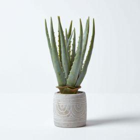Aloe Vera Artificial Succulent in Decorative Stone Pot, 34 cm Tall