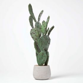 Large Artificial Cactus in Stone Pot, 78 cm Tall