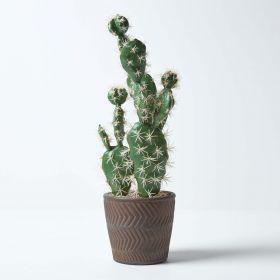 Prickly Pear Artificial Cactus in Decorative Geometric Pot, 48 cm Tall
