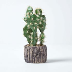 Artificial Cactus Prickly Pear in Stone Pot, 26 cm Tall