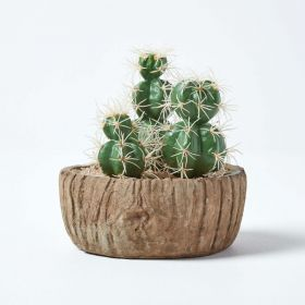Echinocactus Artificial Cactus in Round Wooden Planter, 15 cm Tall