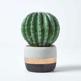 Golden Barrel Artificial Cactus in Contemporary Stone Pot, 19 cm Tall
