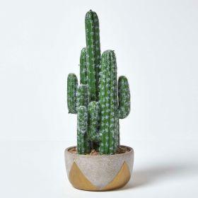 Saguaro Artificial Cactus in Geometric Stone Pot, 51 cm Tall