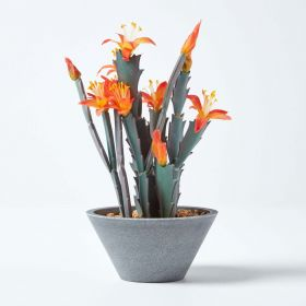 Peruvian Artificial Cactus with Orange Flowers in Grey Pot, 28 cm Tall