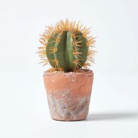 Small Round Artificial Cactus in Terracotta Pot, 15cm Tall