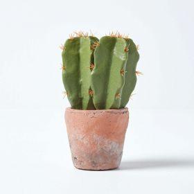 Small Artificial Cactus in Terracotta Pot, 17cm Tall