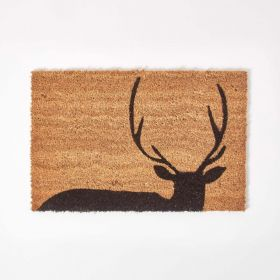 Black Stag Silhouette Non-Slip Coir Doormat