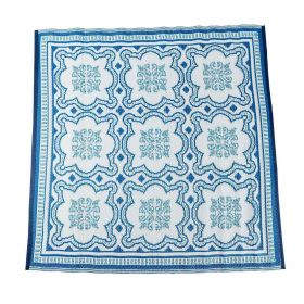 Blue and White Mosaic Pattern Square Reversible Rug