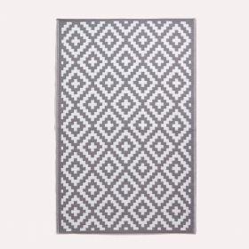 Zoe Geometric White & Grey Outdoor Rug
