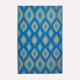 Amber Ikat Green & Blue Outdoor Rug